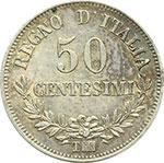 reverse:  Vittorio Emanuele II  (1861-1878) 50 centesimi 1863 T.