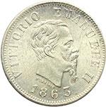 obverse:  Vittorio Emanuele II (1861-1878) 50 centesimi 1863 Napoli.