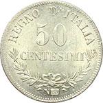 reverse:  Vittorio Emanuele II (1861-1878) 50 centesimi 1863 Napoli.