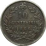 reverse:  Vittorio Emanuele II (1861-1878) 10 centesimi 1866 N. Prova (?).