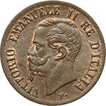 obverse:  Vittorio Emanuele II (1861-1878) Centesimo 1862 N.