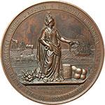 obverse:  Vittorio Emanuele II (1861-1878) Medaglia 1865 per il completamento della linea ferroviaria da Susa a Brindisi.