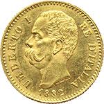 obverse:  Umberto I (1878-1900) 20 lire 1882.