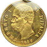 obverse:  Umberto I (1878-1900) 20 lire 1889.