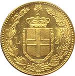 reverse:  Umberto I (1878-1900) 20 lire 1889.