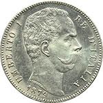 obverse:  Umberto I (1878-1900) 5 lire 1879.