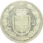 reverse:  Umberto I (1878-1900) 2 lire 1882.