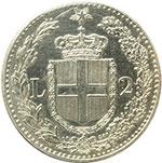 reverse:  Umberto I (1878-1900) 2 lire 1883.