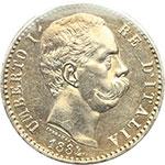 obverse:  Umberto I (1878-1900) 2 lire 1884.