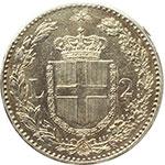 reverse:  Umberto I (1878-1900) 2 lire 1884.