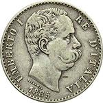obverse:  Umberto I (1878-1900) 2 lire 1885.