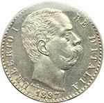 obverse:  Umberto I (1878-1900) 2 lire 1897.