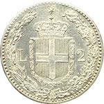 reverse:  Umberto I (1878-1900) 2 lire 1897.