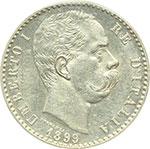 obverse:  Umberto I (1878-1900) 2 lire 1899.
