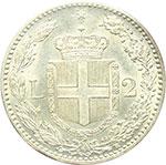 reverse:  Umberto I (1878-1900) 2 lire 1899.