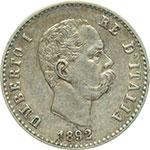 obverse:  Umberto I (1878-1900) 50 centesimi 1892 R.