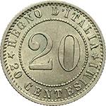 obverse:  Umberto I (1878-1900) 20 centesimi 1895.