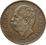 obverse:  Umberto I (1878-1900) 5 centesimi 1896.