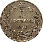 reverse:  Umberto I (1878-1900) 5 centesimi 1896.