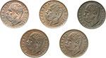 obverse:  Umberto I (1878-1900) Lotto di 5 monete da 1 centesimo: 1895,1896 (SPL), 1897 (SPL), 1898, 1900.