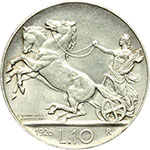 reverse:  Vittorio Emanuele III (1900-1943) 10 lire 1926.