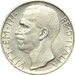 obverse:  Vittorio Emanuele III (1900-1943) 10 lire 1928, 1 rosetta.