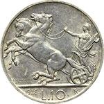 reverse:  Vittorio Emanuele III (1900-1943) 10 lire 1928, 1 rosetta.
