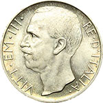 obverse:  Vittorio Emanuele III (1900-1943) 10 lire 1928 **.