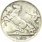 reverse:  Vittorio Emanuele III (1900-1943) 10 lire 1928 **.