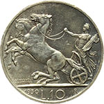 reverse:  Vittorio Emanuele III (1900-1943) 10 lire 1930.