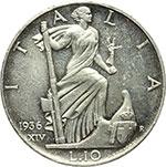 reverse:  Vittorio Emanuele III (1900-1943) 10 lire 1936.