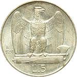 reverse:  Vittorio Emanuele III (1900-1943) 5 lire 1930.