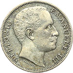 obverse:  Vittorio Emanuele III (1900-1943) 2 lire 1907.