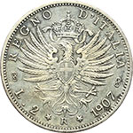 reverse:  Vittorio Emanuele III (1900-1943) 2 lire 1907.