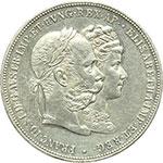 obverse:  Austria  Francesco Giuseppe  (1848-1916) 2 fiorini 1879, celebrativi le nozze d argento con la Principessa Elisabetta di Baviera (Sissi 1837-1898). Commemorativi.
