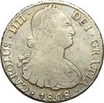 obverse:  Bolivia  Carlo IV (1788-1808) 8 reales 1808, Potosì (PJ).