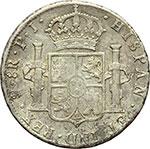 reverse:  Bolivia  Carlo IV (1788-1808) 8 reales 1808, Potosì (PJ).