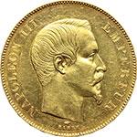 obverse:  Francia  Napoleone III (1852- 1870) 50 franchi 1857 A, Parigi.