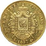 reverse:  Francia  Napoleone III (1852- 1870) 50 franchi 1857 A, Parigi.