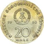 obverse:  Germania DDR   20 marchi 1983, per il 500° anniversario della nascita di Martin Lutero.