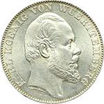 obverse:  Germania-Wurttemberg  Carlo I (1864-1891). Tallero 1866