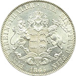 reverse:  Germania-Wurttemberg  Carlo I (1864-1891). Tallero 1866