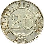 reverse:  Inghilterra, Sarawak  Charles Brooke (1868-1917) 20 centesimi 1913 H.