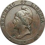 obverse:  Liberia  Repubblica 2 centesimi 1847