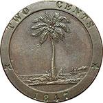 reverse:  Liberia  Repubblica 2 centesimi 1847