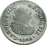 obverse:  Messico  Carlo IV (1788-1808) 1/2 real 1801 FT