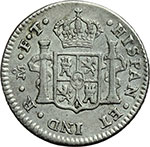 reverse:  Messico  Carlo IV (1788-1808) 1/2 real 1801 FT