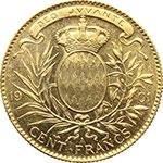 reverse:  Principato di Monaco  Alberto I (1889-1922) 100 franchi 1901.