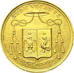 obverse:  Sede Vacante (1829) Medaglia emessa dal Prefetto dei Sacri Palazzi Apostolici e Governatore del Conclave Monsignore Luigi Del Drago.
