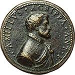 obverse:  Milano  Camillo Agrippa (m.post 1595) Ingegnere e schermidore. Medaglia.